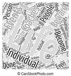 vida, conceito, palavra, experiência, treinar, através,...