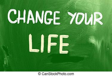 vida, concepto, su, cambio