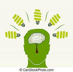 vida, concepto, verde, cabeza, ilustración