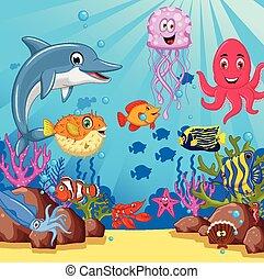 vida, conjunto, caricatura, mar