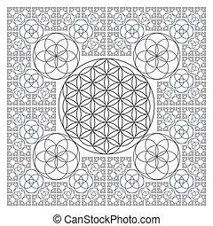 vida, contorno, sagrado, fractal, círculo, flor, geometría