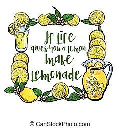 vida, cuadrado, limón, marca, limonada, usted, da, marco, letras, si
