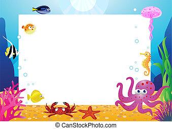 vida de mar, caricatura, y, espacio sin expresión