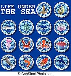 vida, debajo, pegatina, mar, iconos