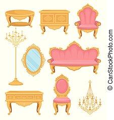 vida, decoración, elementos, furniture., room., colección,...
