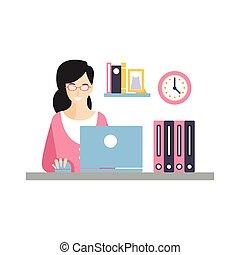 vida, dela, trabalhando, executiva, laptop, personagem, ilustração, elegante, local trabalho, vetorial, diariamente, empregado, sorrindo, escritório