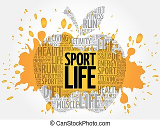 vida, desporto, palavra, nuvem