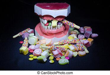 vida, dulce, roto, diente, pila, pizca, todavía