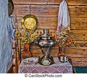 vida, elementos, antigas, registro, cabana, interior,...