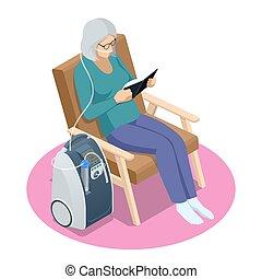 vida, enfermedad, pensioner., isométrico, concentrator., concepto, mujer, médico, oxígeno, atención sanitaria, obstructor, hogar, 3º edad, suplementario, crónico, pulmonar