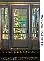 vida, entrada, puerta, habitación, árbol, visita, frente, ...