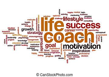 vida, entrenador, palabra, nube