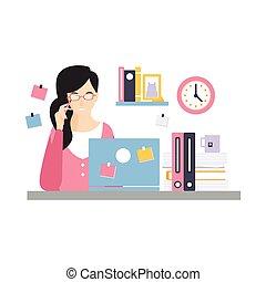 vida, escritório, sentando, executiva, laptop, trabalhando, personagem, ilustração, elegante, vetorial, diariamente, escrivaninha, empregado