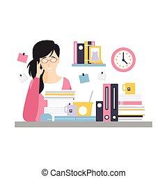 vida, escritório, sentando, executiva, trabalho, personagem, jovem, ilustração, documentos, vetorial, diariamente, lote, escrivaninha, empregado, cansadas, tendo