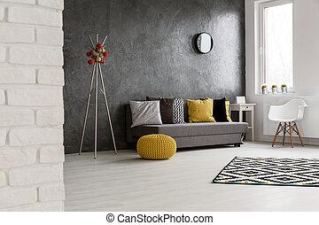 vida, espacioso, habitación, cómodo