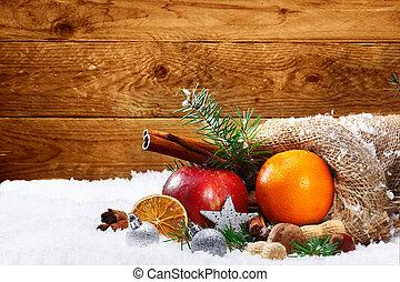 vida, especias, fruta, artístico, todavía, navidad