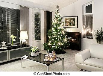 vida, estilo, habitación, moderno, navidad blanca