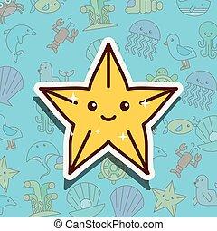 vida, estrellas de mar, mar, caricatura
