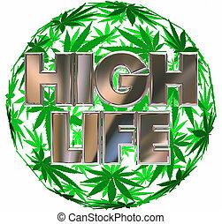 vida, folha, pote, marijuana, ilustração, alto, esfera, 3d