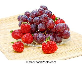 vida, fruit., fresas, uvas, fresco, todavía