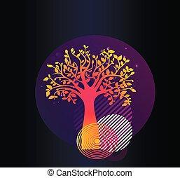 vida, geometría, -, árbol, cartel, vector, glitter., elegante, neón, print.