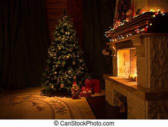 vida, habitación, árbol, adornado, Chimenea, navidad