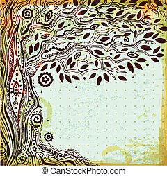 vida hermosa, vendimia, árbol, mano, dibujado