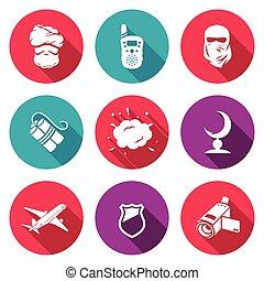 vida, illustration., ícones, set., vetorial, ameaça