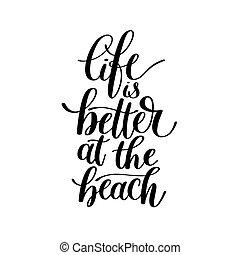 vida, -, ilustração, melhor, frase, praia