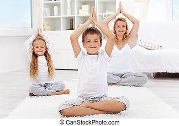 vida, ioga, pessoas, -, equilibrado, exercício, feliz