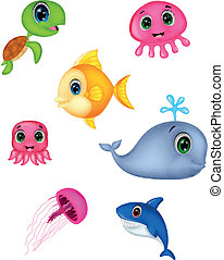 vida, jogo, caricatura, mar