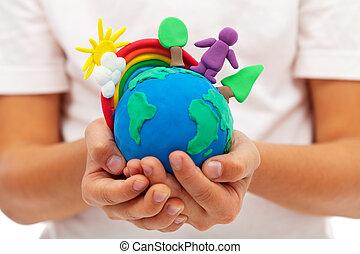 vida, ligado, terra, -, meio ambiente, e, ecologia, conceito
