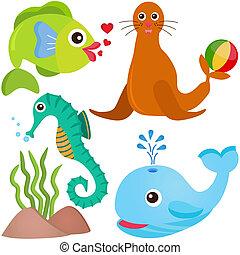 vida, mar, pez, vector, icons: