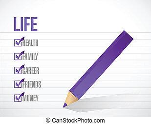 vida, marca de verificación, lista, ilustración, diseño