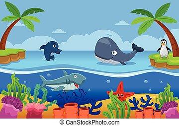 vida, marina, océano