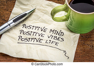 vida, mente, vibraciones, positivo