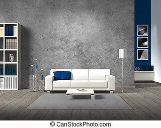 vida moderna, habitación, con, pared concreta, y, espacio de...