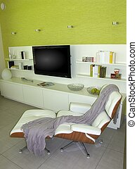 vida moderna, habitación, -, salón