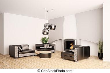 vida moderna, sala, com, lareira, interior, 3d