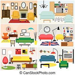vida, muebles, habitación, ideas