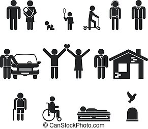 vida, muerte, viejo, stage., juventud, edad, nacimiento,...