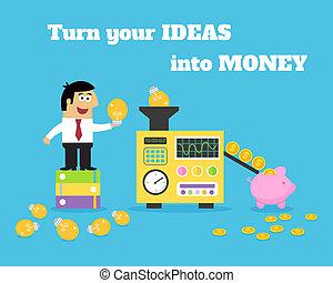 vida negocio, ideas, dinero, convertidor