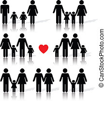 vida, negro, conjunto, icono, familia