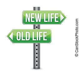 vida nova, antigas, ou, sinal