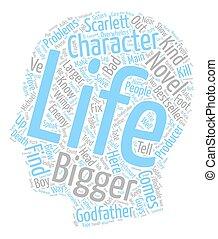 vida, novela, texto, crear, carácter, que, wordcloud, concepto, plano de fondo, su, más grande