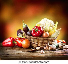 vida, orgánico, sano, vegetales, diseño, arte, todavía