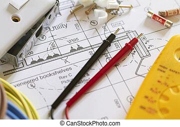 vida, organizado, planos, componentes elétricos, ainda