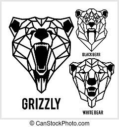vida, pardo, cabeças, -, urso, animals., ilustrações, vetorial, pretas, icons., animal, urso, selvagem, branca, geomã©´ricas