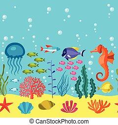 vida, patrón, seamless, animals., mar, marina