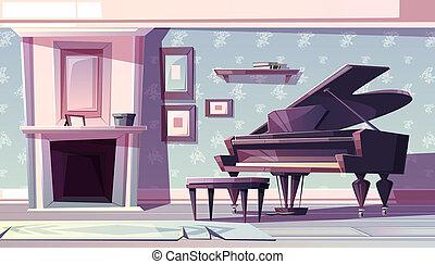 vida, piano, habitación, caricatura, clásico